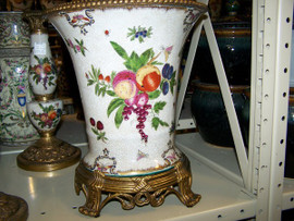 Harvest Fruit - Luxury Handmade and Painted Reproduction Chinese Porcelain and Gilt Bronze Ormolu - Vase, Centerpiece