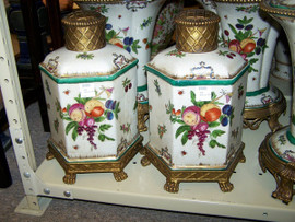 Harvest Fruit - Luxury Handmade and Painted Reproduction Chinese Porcelain and Gilt Bronze Ormolu - 10 Inch Statement Jar