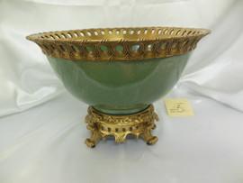 Lyvrich Fine Handcrafted d'oro Ormolu Peerless Porcelain - Bowl, Centerpiece - Celadon Large Crackle - 10t X 14.25w X 14.25d
