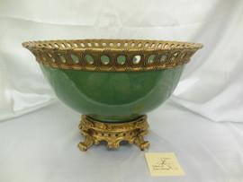 Lyvrich Fine Handcrafted d'oro Ormolu Porcelain - Bowl, Centerpiece - Celadon Large Crackle - 10.75t X 17w X 17d