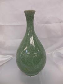 Lyvrich Fine Handcrafted Porcelain - Narrow Neck, Round Vase - Celadon Large Crackle - 15.5t X 7.5w X 7.5d