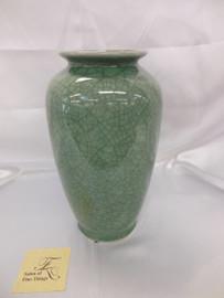 Lyvrich Fine Handcrafted Porcelain - Round Vase - Celadon Large Crackle - 12t X 7w X 7d