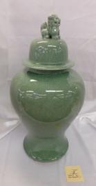 Lyvrich Fine Handcrafted Porcelain - Round Potiche, Fu Dog Temple Jar - Celadon Large Crackle - 18t X 10w X10d