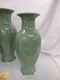 Lyvrich Fine Handcrafted Porcelain - Round Vase - Celadon Large Crackle - 14.5t X 7w X 7d