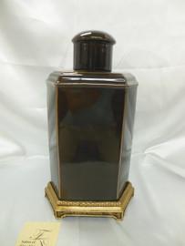 Lyvrich Handmade d'oro Ormolu Refined Porcelain - Jar, Mantel Urn - Charcoal Gray Decorator Solid - 15.5t X 9w X 6.5d