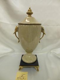 Lyvrich Fine Handmade d'oro Ormolu Elegant Porcelain - Figurehead Centerpiece Jar, Elephant Theme Mantel Vase - 17.5t X 9w X 7d
