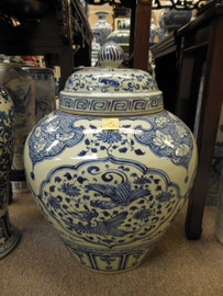Lyvrich Fine Handcrafted Porcelain - Blue and White Oversize Jar - 26.5t X 20w X 20d