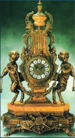 Marble Mantel, Table Clock, d'Oro Ormolu - Bronze Patina - Crema Valencia Yellow Marble - Handmade Reproduction of a 17th, 18th Century Dore Bronze Antique, 6263