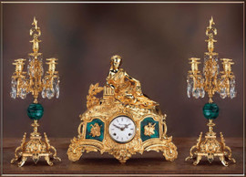 Antique Style French Louis Crystal and Malachite, d'Oro Ormolu Garniture Mantel, Table Clock, Five Light Candelabra Set - 24k Gold Patina - Handmade Reproduction of a 17th, 18th Century Dore Bronze Antique, 6268
