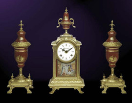 Antique Style French Louis Porcelain, Rosso Bordeaux, d'Oro Ormolu Garniture - Mantel, Table Clock, Cassolette Urn Set - French Gold Patina - Handmade Reproduction of a 17th, 18th Century Dore Bronze Antique, 6275