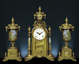Antique Style French Louis Porcelain, Blu Cobalto, d'Oro Ormolu Garniture - Mantel, Table Clock, Cassolette Urn Set - French Gold Patina - Handmade Reproduction of a 17th, 18th Century Dore Bronze Antique, 6276