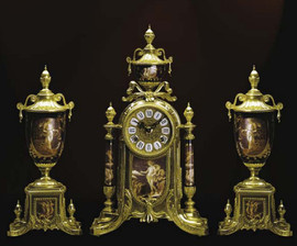 Antique Style French Louis Porcelain, Rosso Bordeaux, d'Oro Ormolu Garniture - Mantel, Table Clock, Cassolette Urn Set - French Gold Patina - Handmade Reproduction of a 17th, 18th Century Dore Bronze Antique, 6277