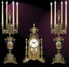 Antique Style French Louis Porcelain, Blu Cobalto, d'Oro Ormolu Garniture - Mantel, Table Clock, Five Light Candelabra Set - French Gold Patina - Handmade Reproduction of a 17th, 18th Century Dore Bronze Antique, 6278