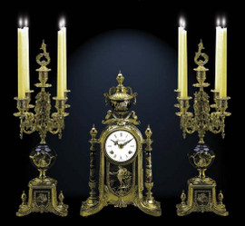 Antique Style French Louis Porcelain, Blu Cobalto, d'Oro Ormolu Garniture - Mantel, Table Clock, Five Light Candelabra Set - French Gold Patina - Handmade Reproduction of a 17th, 18th Century Dore Bronze Antique, 6279