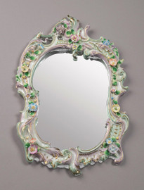 "Meissen Style, Romantic Porcelain Looking Glass Wall Mirror, German Rococo Blumen und Gold, 20""L X 13""w X 1""d, 6282"