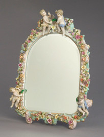 "Meissen Style, Romantic Porcelain Beveled Looking Glass Tabletop Mirror, German Rococo Blumen, Putten und Gold, 19""t X 14""w X 1""d, 6283"
