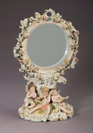 """Meissen Style, Romantic Porcelain Looking Glass, Vanity Pedestal Mirror, Flower, Musical Putti and Gold, German Rococo Blumen, Musik Putten und Gold, 18""""t X 11""""w X 8""""d, 6285"""