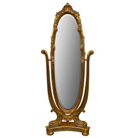 """Fancy French Cheval Mirror, Oval Beveled Glass, Guilded Dressing Mirror, 74""""t X 28""""w X 14""""d Gold Finish, 6288"""