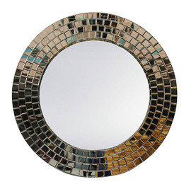 """Contemporary Decor, Extra Large, Round Plate Glass Mirror framed with hundreds of Beveled Glass Tiles, 42""""t x 42""""w, 6290"""
