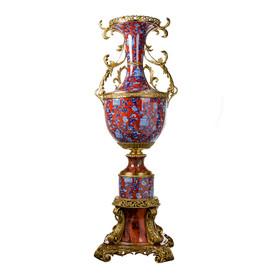 ***Lyvrich d'Elegance, Bone China and Gilded Dior Ormolu | Monaco, Palace Potiche, Trophy Cup Vase | Centerpiece | Red and Blue Chinoiserie | 67.96t X 23.84w X 22.84d | 6293