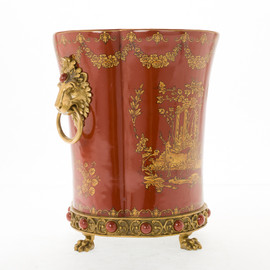 Lyvrich d'Elegance, Porcelain and Gilded Dior Ormolu | Glen Cove Centerpiece Vase | Warm Red and Gold Jeweled Chinoiserie | 12.00t X 10.05w X 10.05d | 6294