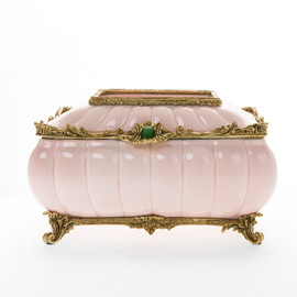 ***Lyvrich d'Elegance, Bone China and Gilded Dior Ormolu | Montauk, Pink and Gold | Tissue Box | Jewel Green Cabochon, Centerpiece | 6.50t X 10.84L X 7.41d | 6299