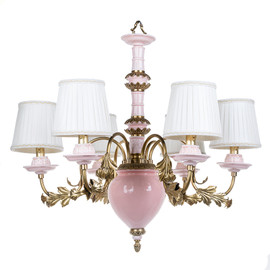 Lyvrich d'Elegance, Bone China and Gilded Dior Ormolu   Montauk, Pink and Gold   6 light, Chandelier   26.79t X 25.81L X 25.81d   6300