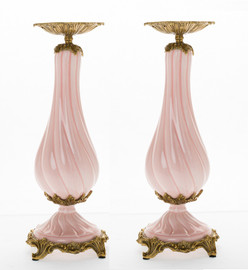 ***Lyvrich d'Elegance, Bone China and Gilded Dior Ormolu | Pink and Gold | Montauk Candlestick Pair | Candle Holder Set | 14.18t X 5.04w X 5.04d | 6303