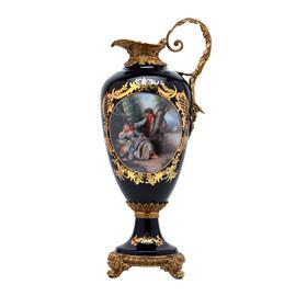 Lyvrich d'Elegance, Porcelain and Gilded Dior Ormolu | Romance, Bleu foncé et doré | Versailles Pitcher | Trophy Vase | Centerpiece | 21.08t X 9.06w X 7.33d | 6307