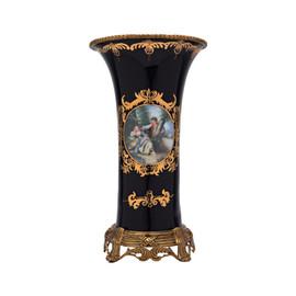 Lyvrich d'Elegance, Porcelain and Gilded Dior Ormolu   Romance, Bleu foncé et doré   Versailles Flower Vase   Cylinder Centerpiece   13.20t X 7.68w X 7.68d   6308