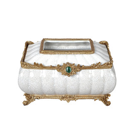 ***Lyvrich d'Elegance, Porcelain and Gilded Dior Ormolu | Crackle, Neutral and Gold | Tissue Box | Jewel Green Cabochon, Centerpiece | 6.50t X 10.84L X 7.41d | 6309