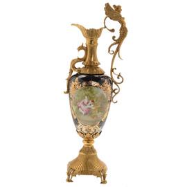 #Lyvrich d'Elegance, Porcelain and Gilded Dior Ormolu | Victor Hugo's Summer Courtship, Bleu foncé et doré | Versailles Pitcher | Trophy Vase | Centerpiece | 30.14t X 10.05w X 8.08d | 6310