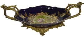 Lyvrich d'Elegance, Porcelain and Gilded Dior Ormolu | Victor Hugo's Summer Courtship, Bleu foncé et doré | Versailles Platter | Tray | Centerpiece | 6.11t X 18.91L X 8.67d | 6311