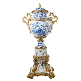 Lyvrich d'Elegance, Bone China and Gilded Dior Ormolu | Blue and White Toile | Palace Potiche Jar | Floor Standing Centerpiece Urn | 58.31t X 28.56w X 22.85d | 6316