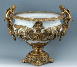 Lyvrich d'Elegance, Porcelain and Gilded Dior Ormolu | Versailles or et blanc | Fruit Compotier Dish | Gold & White Centerpiece Bowl | 19.50t X 23.25w X 11.74d | 6317