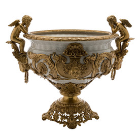 Lyvrich | Handmade Compotier Dish, Pedestal Fruit Bowl, Compote, | Porcelain and Gilded Dior Ormolu, | Versailles, or et Fractured hors Blanc, | Gold & White | 19.50t X 23.25w X 11.74d | 6318