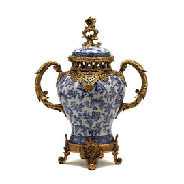 #Lyvrich d'Elegance, Blue and White Butterfly Porcelain and Gilded Dior Ormolu | European Potiche Jar | Covered Statement Urn | Centerpiece | 21.67t X 16.55w X 9.85d | 6322