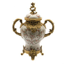 #Lyvrich d'Elegance, Porcelain and Gilded Dior Ormolu | European Potiche Jar | Covered Statement Urn | Centerpiece | 21.67t X 16.55w X 9.85d | 6323