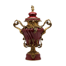 Lyvrich d'Elegance, Porcelain and Gilded Dior Ormolu | Versailles Potiche Jar | Covered Statement Urn | Centerpiece | 28.37t X 20.09w X 12.41d | 6324