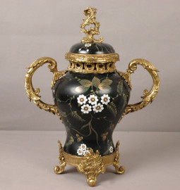 ***Lyvrich d'Elegance, Handpainted Porcelain and Gilded Dior Ormolu | Fleurs Rose Sur Le Noir | European Potiche Jar | Covered Statement Urn | Centerpiece | 21.67t X 16.55w X 9.85d | 6328