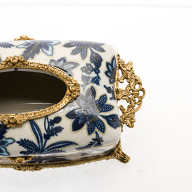 ***Lyvrich d'Elegance, Crackle Porcelain and Gilded Dior Ormolu | Soft Gold Trimmed, Blue and White Flora | Tissue Box Centerpiece | 4.73t X 11.62L X 6.34d | 6329