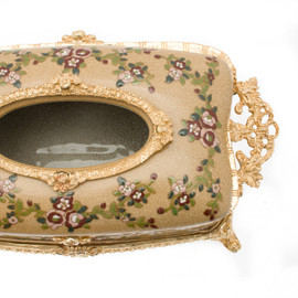 #Lyvrich d'Elegance, Porcelain and Gilded Dior Ormolu   Crackle, Hand Painted, Clustered Flowers, Tan   Tissue Box Centerpiece   4.73t X 11.62L X 6.34d   6330
