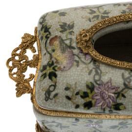 ***Lyvrich d'Elegance, Porcelain and Gilded Dior Ormolu   Crackle   Tissue Box Centerpiece   4.73t X 11.62L X 6.34d   6332