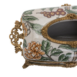 #Lyvrich d'Elegance, Crackle Porcelain and Gilded Dior Ormolu | Orange Blossoms, Berries and Greenery | Tissue Box Centerpiece | 4.73t X 11.62L X 6.34d | 6335