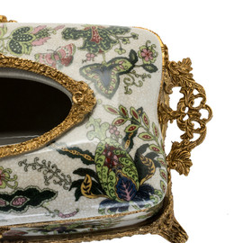 #Lyvrich d'Elegance,   Handmade Tissue Box, Centerpiece,   Porcelain and Gilded Dior Ormolu,   Dark Blue, Salmon Pink, Green and Gold   4.73t X 11.62L X 6.34d   6336