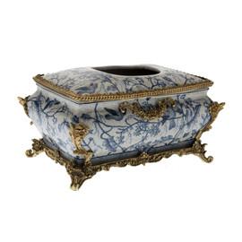 #Lyvrich d'Elegance, Porcelain and Gilded Dior Ormolu | Blue and White Natural Simplicity | Bombé Tissue Box Centerpiece | 6.11t X 10.84L X 7.17d | 6337