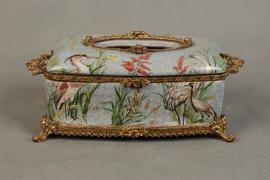 ***Lyvrich d'Elegance, Porcelain and Gilded Dior Ormolu   Crackle, Crane Motif   Tissue Box Centerpiece   4.73t X 11.62L X 6.34d   6338