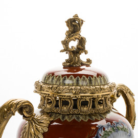 ***Lyvrich d'Elegance, Porcelain and Gilded Dior Ormolu | European Potiche Jar | Covered Statement Urn | Centerpiece | 21.67t X 16.55w X 9.85d | 6341
