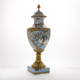 ***Lyvrich d'Elegance, Porcelain and Gilded Dior Ormolu | European Potiche Jar | Covered Statement Urn | Centerpiece | 28.56t X 10.05w X 10.05d | 6347