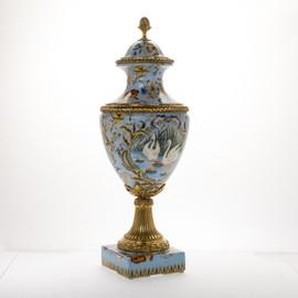 #Lyvrich d'Elegance, Porcelain and Gilded Dior Ormolu | European Potiche Jar | Covered Statement Urn | Centerpiece | 28.56t X 10.05w X 10.05d | 6347